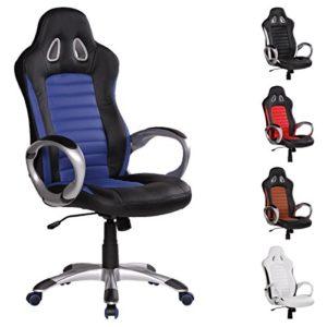 FineBuy Bürostuhl RACING Blau Gaming Chefsessel mit Armlehne gepolstert Racer Sport-Sitz Drehstuhl Kopfstütze Race Schreibtischstuhl Gamer Design Modern Drehsessel mit Wippfunktion bis 120KG Leder-Optik - 1